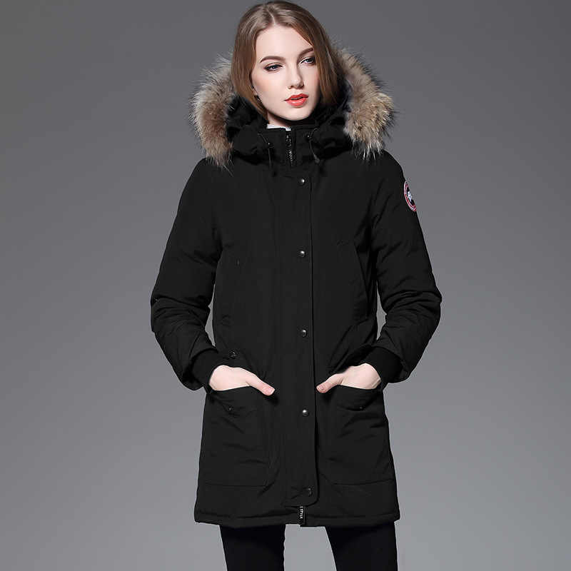 European Leg Raccoon Fur Collar Mid-length down Jacket WOMEN'S Plus-sized COUPLE'S Thick Jacket
