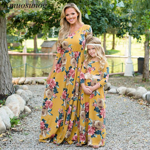 Autumn Mommy and me clothes Winter 2019 Three Quarter Blue Print Dress Mother Daughter Dresses Parent Girls Child Outfits C0546