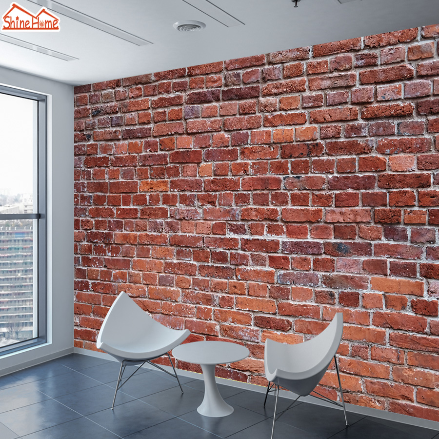 Red Brick 3d Wallpaper Mural Wallpapers For Living Room Cafe Store Wall Paper Papers Home Decor Self Adhesive Walls Murals Rolls