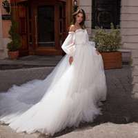 Smileve Princess Wedding Dress Puff Sleeve Boho Bride Dresses Off The Shoulder Wedding Gowns With Crystal Vestido de novia