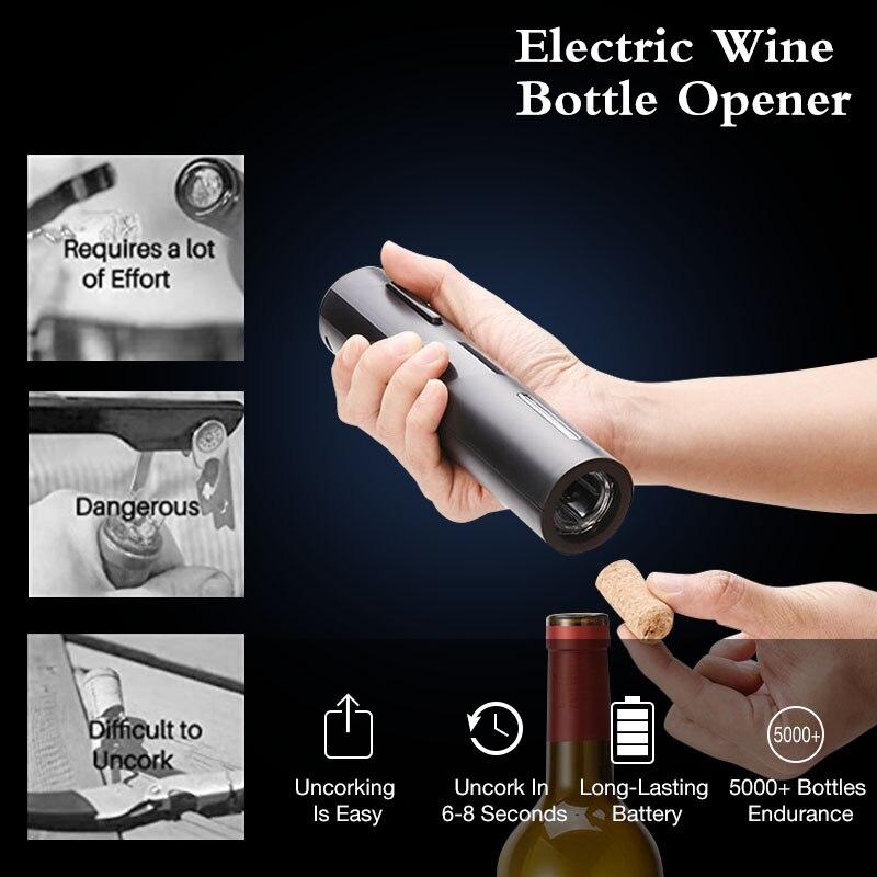 Apribottiglie elettrico ricaricabile apribottiglie Set di taglierine per cavatappi apribottiglie automatico per gadget da cucina per vino apriscatole 2