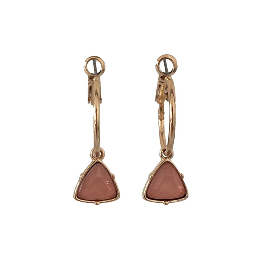 Модные женские сережки с золотым покрытием мятный камень серьги в форме треугольника серьги - Окраска металла: PINK