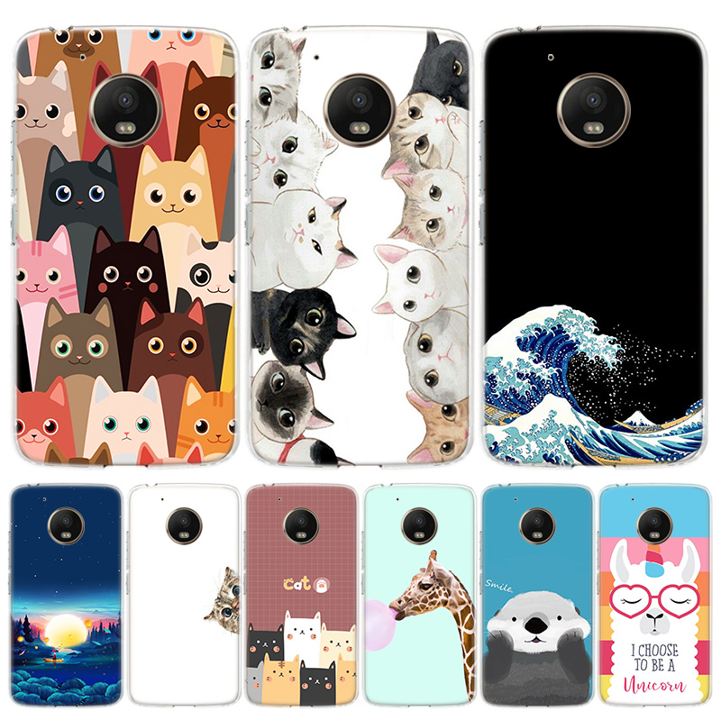 Cat Bear Totally Brighten Cover Phone Case For Motorola Moto G8 G7 G6 G5S G5 E6 E5 E4 Plus G4 Play EU One Action X4 Pattern Coqu