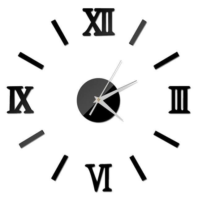 New Clock Watch Wall Clocks 3D DIY Acrylic Mirror Stickers Home Decoration Living Room Quartz Needle Wall Clock 1