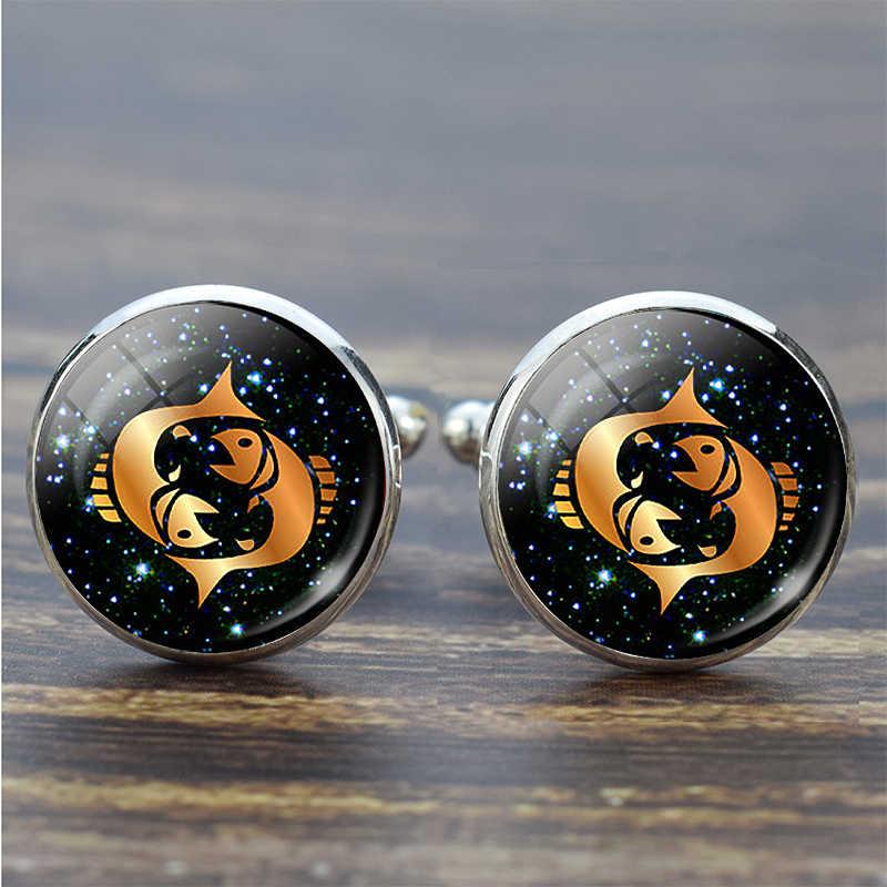 12 takımyıldızı cam alaşım kol düğmeleri Leo balık burç el yapımı cam gümüş takım elbise kol düğmeleri erkekler gömlek doğum günü hediyesi