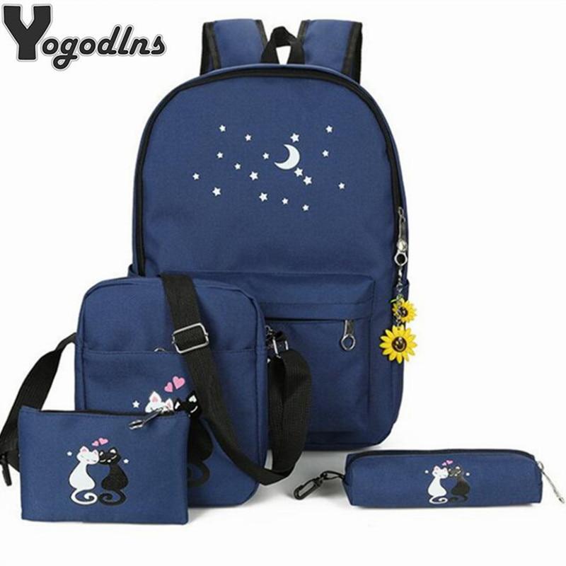 4pcs/lot Canvas Backpack Set Cute Cat Printed School Knapsack For Teen Girls Shoulder Bag+Pencil Bag Composite High Capacity