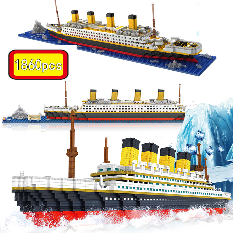 1860 Pcs NO Match Legoinglys RS Titanic Sets Cruise Ship Model Boat DIY Building Diamond Mini Blocks Children Kids Toys