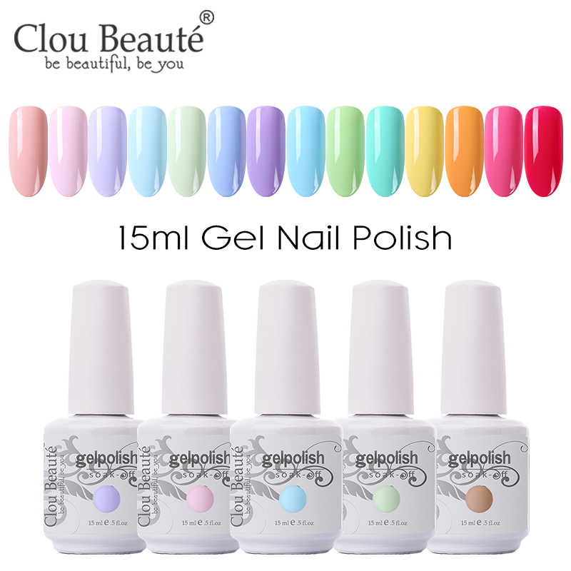 Clou Beaute 15 Ml Gel Polish Set Semua untuk Manikur Semi Permanen Pernis UV LED Gel Varnish Rendam Off Gel lacquer Cat Kuku Gellak
