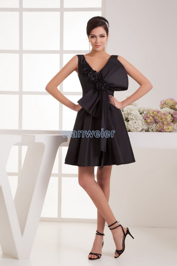 Free Shipping Women New Design Hot Sale V-neck Handmade Bow Cap Sleeve Brides Maid Custom Size Short Mother Of The Bride Dresses