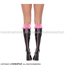 Negro con Rosa Sexy medias de látex cortas con volantes en los lazos superiores y rayas en la parte posterior calcetines de cuero WZ-0047