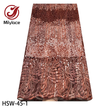 New Embroidery French Lace Fabric 2020 Sequins Fabric Material Tulle Mesh Lace Dress African Sequins Lace HSW-45