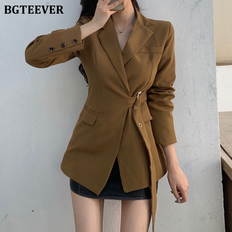 BGTEEVER Vintage Slim Waist Women Blazer Notched Collar Long Sleeve Sashes Female Jacket 2020 Spring Summer Outerwear Femme