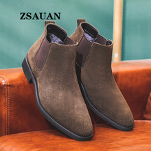 Men Boots Italian Chelase Shoes Typical Winter/spring Stylish ZSAUAN Cow-Suede Elegant