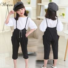 Weixu Kids Summer Clothes White Puff Sleeve Blouse overalls Costumes Children Clothing Sets for Teenage Girls 8 10 12 Years Old