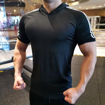 Letnie bieganie męskie koszulki szybkie suche koszula z kapturem topy koszulki sportowe męskie Fitness siłownia koszulki kompresyjne bluzka pokazująca mięśnie tanie i dobre opinie wsryxxsc Wiosna Lato AUTUMN Winter spandex Pasuje prawda na wymiar weź swój normalny rozmiar