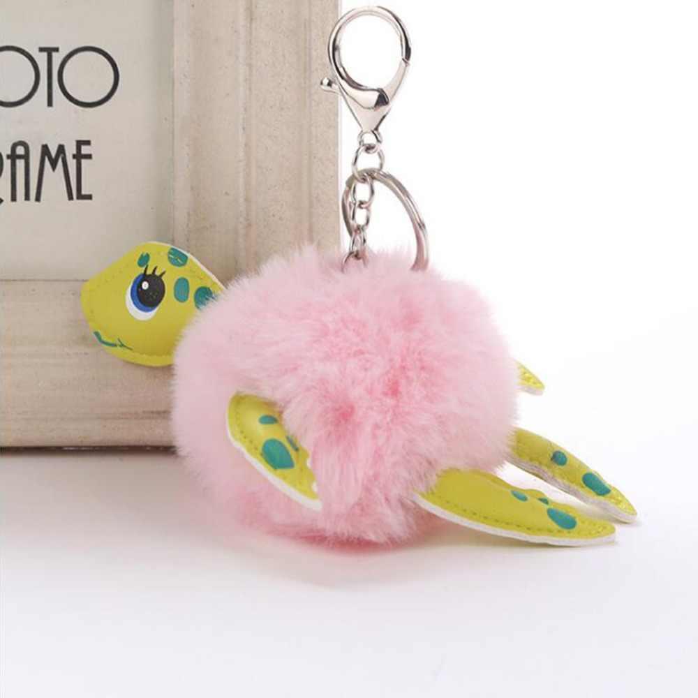 لطيف السلاحف الكرة كيرينغ وهمية كرة فرو المفاتيح للنساء حقيبة السيارات الديكور لينة بوم سلسلة مفاتيح منفوش قلادة ألعاب من نسيج مخملي