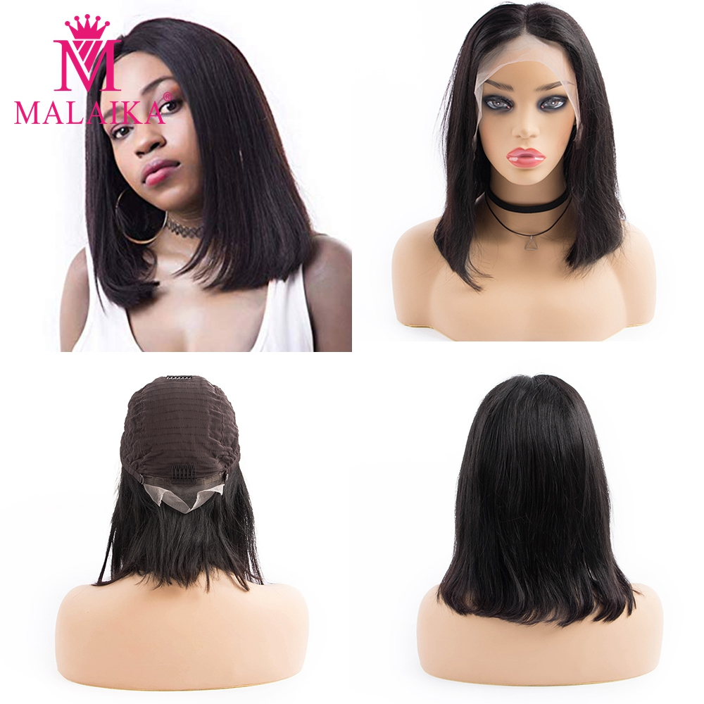 MALAIKA Straight Bob Wigs Peruvian Hair 13x4 Lace Front Wigs Natural Hairline Short Bob Human Hair Wigs