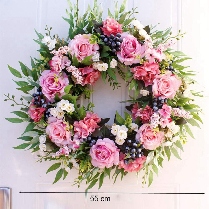 wedding : 55cm Rose Wreath Large Rustic Farmhouse Decorative Artificial Flower Wreath Faux Floral Wreath for Front Door Window Wedding O