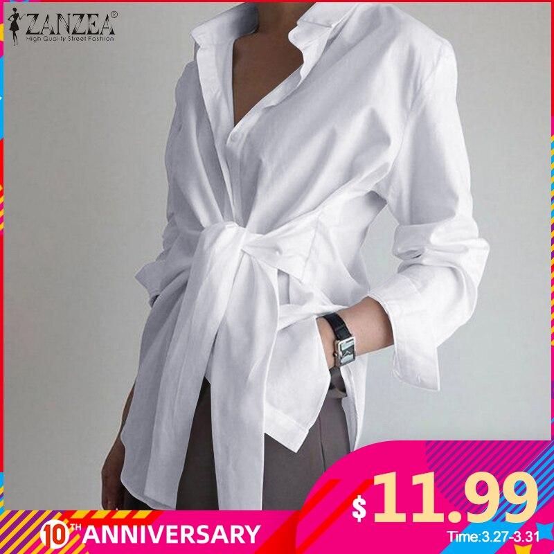 Fashion Women Long Sleeve Blouse ZANZEA Casual Lace Up Shirts Elegant Lapel Neck OL Asymmetric Tops Spring Blusas Femininas 7