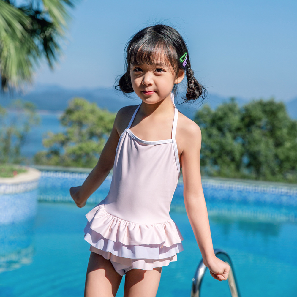 New Style Children Siamese Swimsuit Female Baby Hot Springs Skirt Swimwear Cake Layer Cute Princess Olive Flower 1015