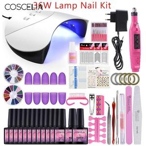 Image 3 - COSCELIA Nail Gel Polish Varnish Manicure Set UV Gel Starter Manicure Tool Kit Nail Art  For Nail Kits Brush With Top Base Coat