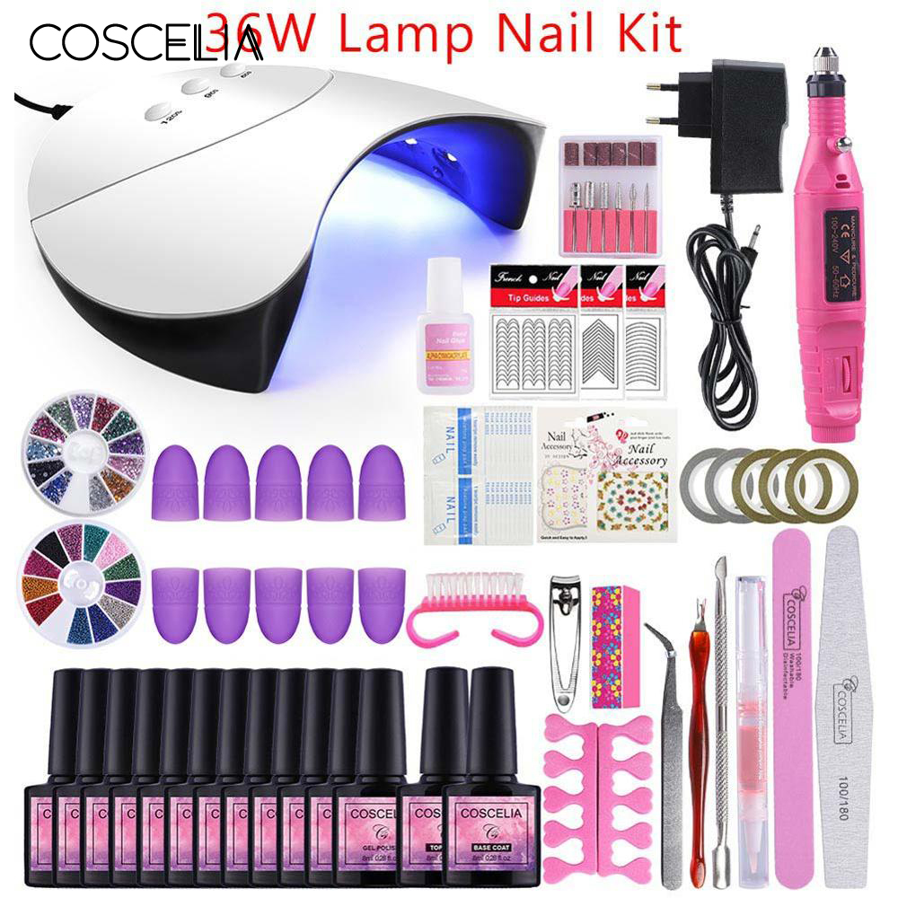 Nail Gel Varnish Polish Manicure Set UV Gel Starter Kit Nail Art Manicure Tools Nail Sets Kits DIY Nail Art Brush With Topcoat