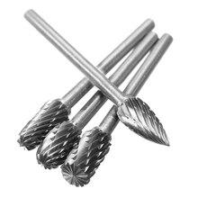 цена на High quality 1/8 Shank Tungsten Carbide Milling Cutter Rotary Tool Burr Double Diamond Rotary Dremel Tools Electric Grinding