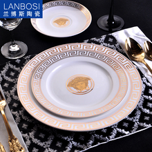 European ceramic porcelain fish plate outline in gold steakhouse for hotel catering decoration wedding gifts