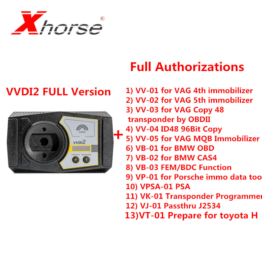 Original Xhorse V6.7.0 VVDI2 Full Kit With 13 Kinds Full Authorizations OBD48 + 96bit 48-Clone + MQB + For BMW FEM/BDC