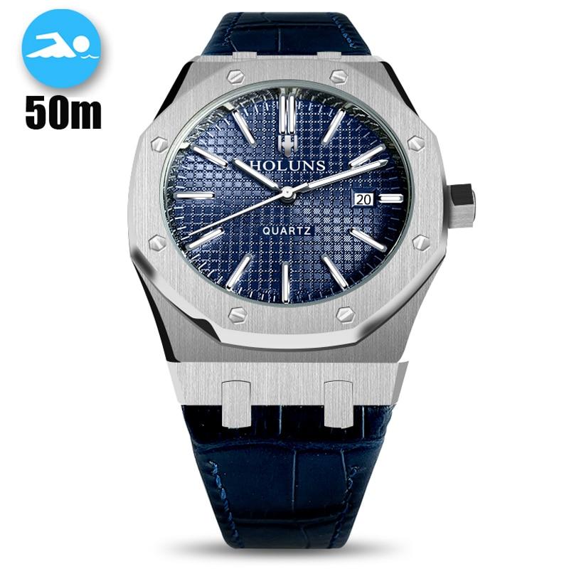 Saphir octogonal femmes montre hommes Top marque de luxe montres à Quartz 50m étanche hommes montre Sport montre Relogio Masculino