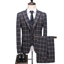 Dressv Coffee Men's Autumn Plaid Large Size Suit One Button Three-Pieces Suit 2019 Men's Suits For Wedding(China)