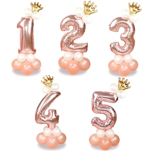 13Pcs/set Rose Gold Number Foil Balloons Happy Birthday Balloons Baby Shower Kids Birthday Party Decorations Number Balloons(China)