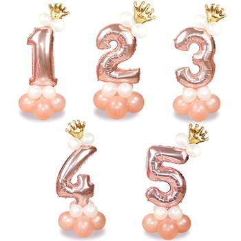 13Pcs/set Rose Gold Number Foil Balloons Happy Birthday Baby Shower Kids Party Decorations