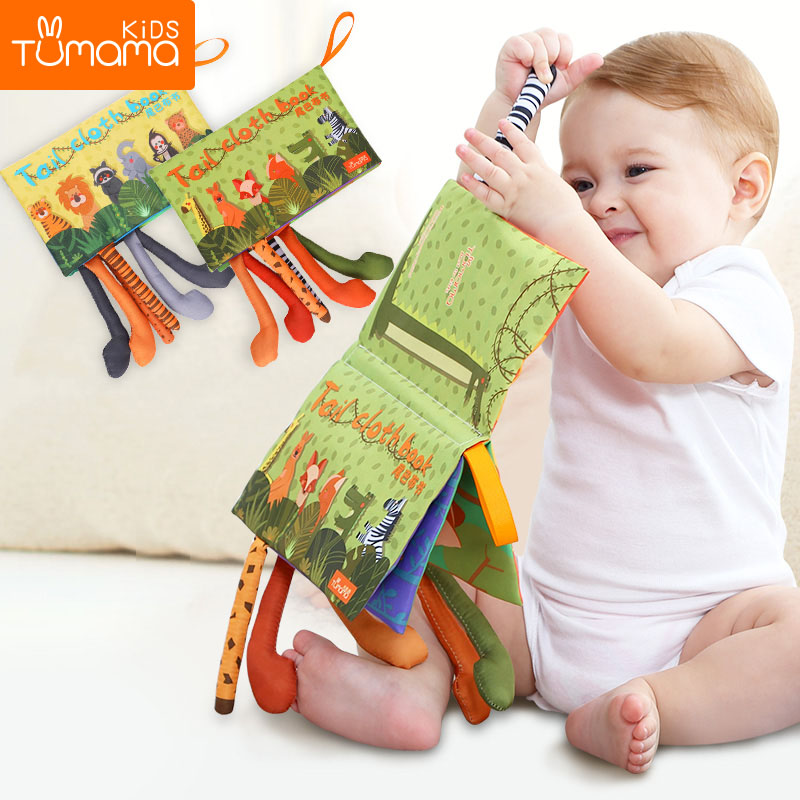 Tumama Baby Rattles Mobiles Toy Soft Animal Tails Cloth Book Newborn Stroller Hanging Toy Baby Early Learning Educational Toys(China)