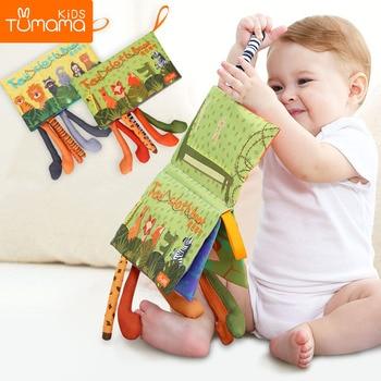 Tumama babyrammelaars mobiele speelgoed zachte dierenstaarten doek boek pasgeboren kinderwagen opknoping speelgoed baby vroeg leren educatief speelgoed