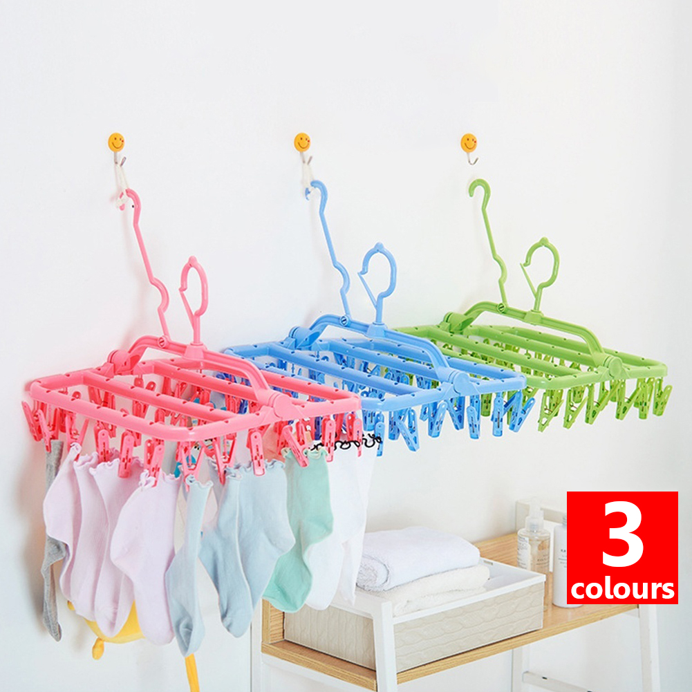 32 Clips Portable Foldable Socks Cloth Hanger Racks Drying Rack Sock Holder Wardrobe Storage Hangers Cloth Storage Organizer