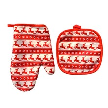 3 Sets Christmas printing microwave oven gloves Xmas oven mitt BBQ insulating Cotton gloves