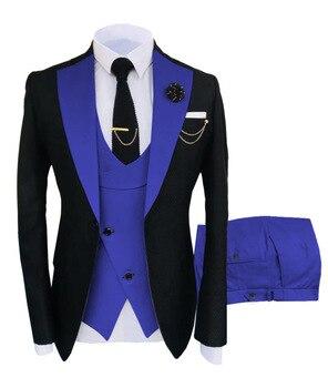 New Costume Slim Fit Men Suits Slim Fit Business Suits Groom Black Tuxedos for Formal Wedding Suits Jacket Pant Vest 3 Pieces 23