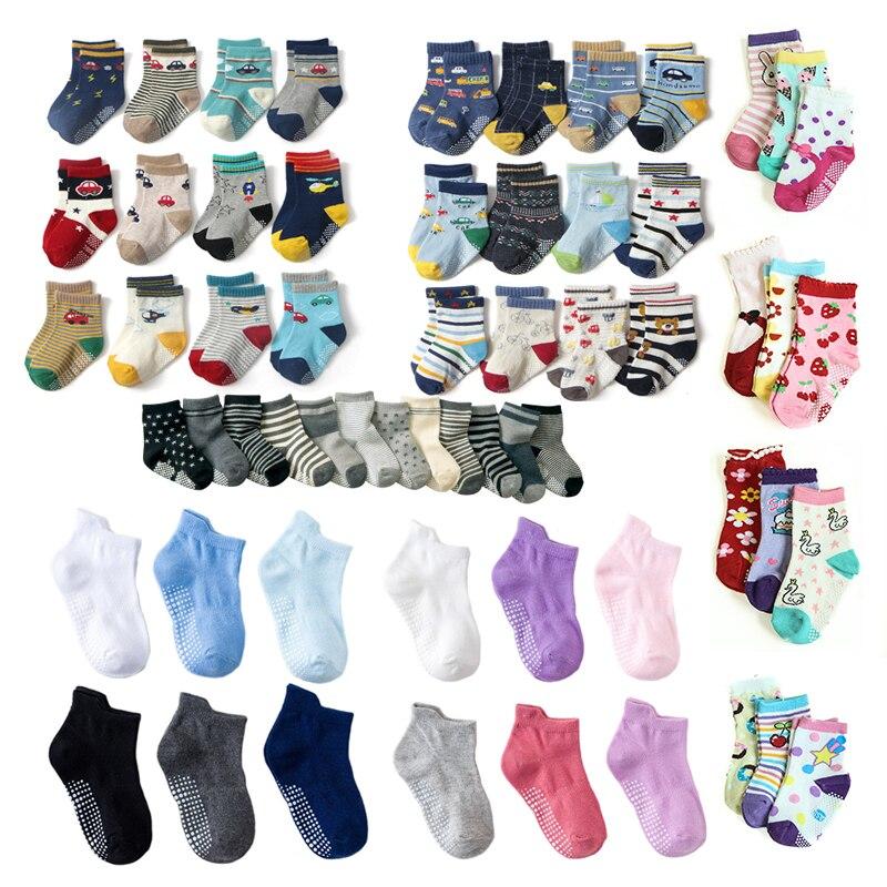 6Pairs/lot 0 To 6 Yrs Four Seasons Sock For Boys Girls Toddlers Infants Non Skid Floor Socks Cotton Unisex Children's White Sock