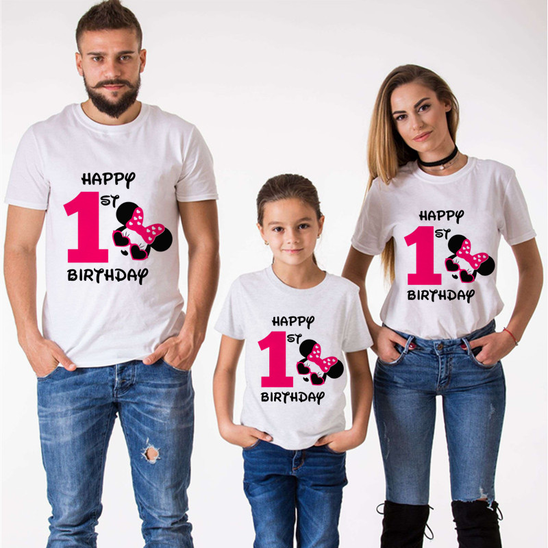 Mouse Mouse Ear Family Matching Clothes Mommy And Me Clothes It Is My 1st Birthday T-Shirt Boys Clothes Short Sleeve TShirt