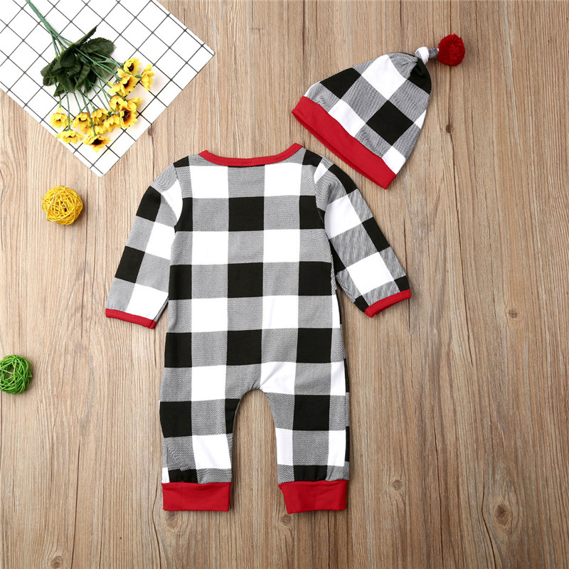 Baby Boy Girl Santa Claus Plaid Romper Hat 2PCs Clothes Infant Jumpsuit Outfit Children Tracksuit Kids Clothing Set 0 18M in Rompers from Mother Kids