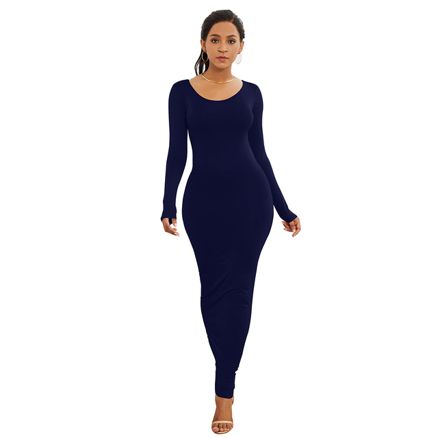 HOT SALES!!! Spring Autumn Sexy Women Solid Color Long Sleeve Round Neck Bodycon Maxi Dress evening party dress sexy comfortable 13