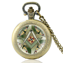 High Quality Vintage Free and Accepted Masons Glass Dome Quartz Pocket Watch Classic Men Women Bronze Necklace Pendant Gifts