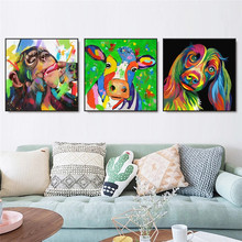Graffiti Art Animals Wall Art Canvas Painting Poster and Print Wall Art Colorful Cow, Dog, Monkey Pictures for Living Room Decor
