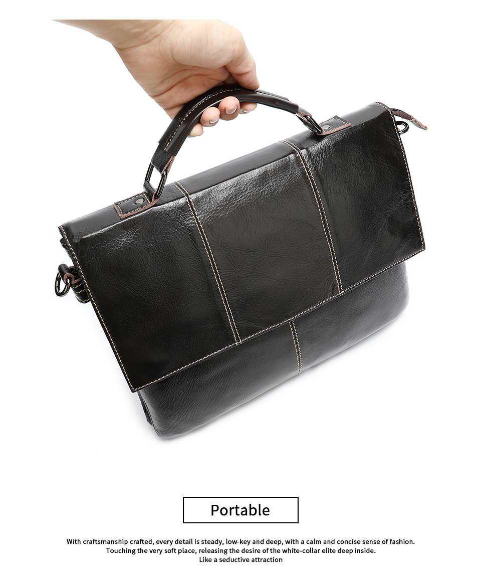 H67ac10cb8ec24acb8efacb05ad8bd65cl Bag Men's Briefcase Genuine Leather Office Bags for Men Leather Laptop Bags Shoulder/Messenger Bag Business Briefcase Male 7909