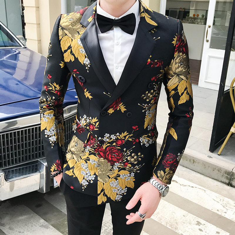 Autumn Blazer Hombre Mens Flowers Blazers Casual Club Slim Fit Floral Blazer Masculino Americana Hombre Mens Stage Wear Smart
