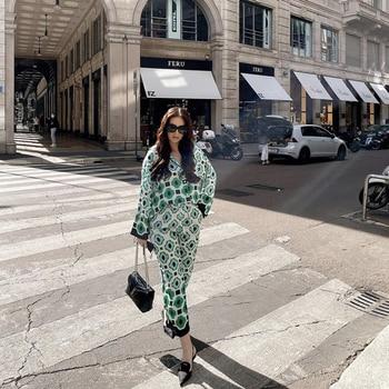 PUWD Casual Women Green Print Blouse Suit 2021 Spring Elegant Female Streetwear Pant Matching Sets Ladies Vinatge Geometry Suits 1