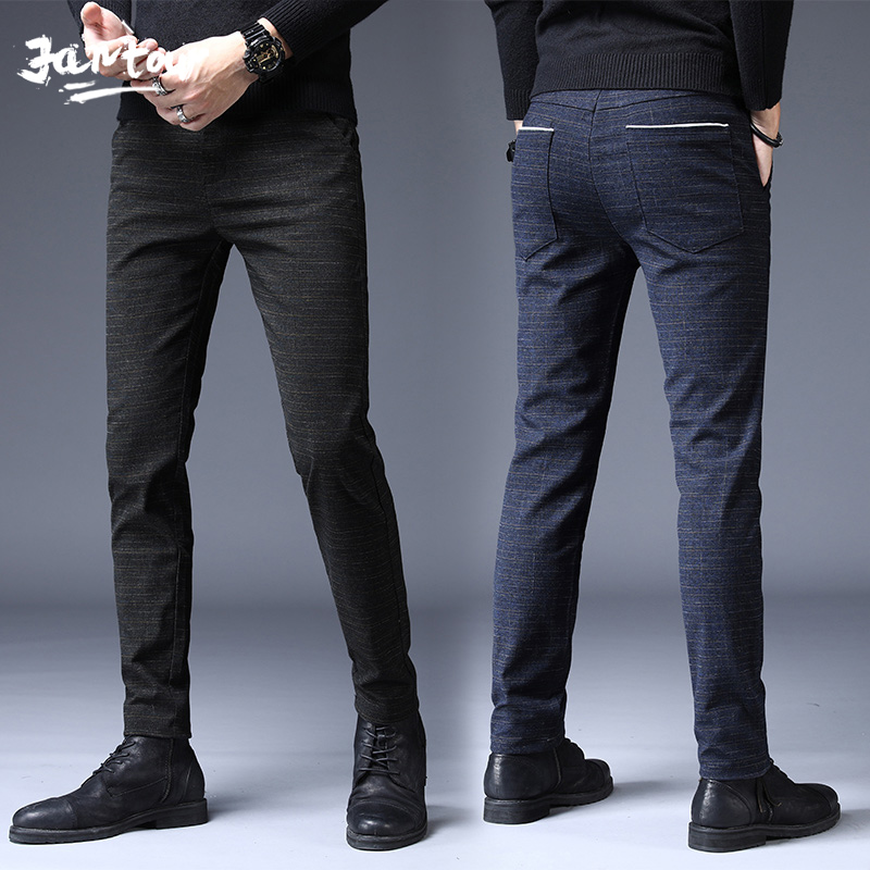 Autumn Winter Pants Men Classic Casual Elastic Long Trousers Male Black Cotton Stripes Straight Warm Work Pant Men's Size 36 38