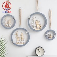 LUCKK 2pcs Nordic New Year Natural Wood Christmas Tree Modern Ornaments Pendant Hanging Craft Xmas Party Elk Festive Decor