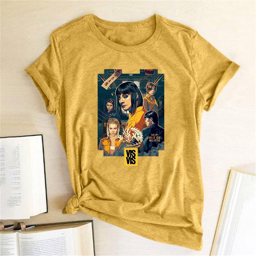 Vis A Vis Print T-shirt Women Summer Round Neck Short Sleeve Spain Tv Funny T-shirt Harajuku Aesthetic Tees Tops Camiseta Mujer